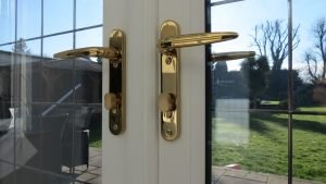 Gold Lever Handles with Thumbturns