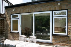 White UPVC Patio Doors with Chrome Handles